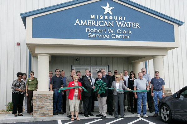 Globe/Roger Nomer<br /> Missouri American Water held a ribbon cutting at its Robert W. Clark Service Center at 2323 Davis Blvd. on Monday afternoon.  The original building was destroyed in the May 22 tornado.  The service center houses MIssouri American Water's field reps.  It is named after an employee who lost his life after sustaining injuries on the job earlier this year.