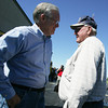 Globe/Roger Nomer<br /> Gov. Jay Nixon talks with James Miles, a farmer in rural Newton County, at New Mac Electric on Monday morning.