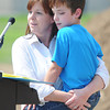 Globe/T. Rob Brown<br /> Alisha Wynne of Webb City holds her 9-year-old son Gavin Newby, who has been diagnosed with cerebral palsy, Thursday morning, Sept. 13, 2012, during the groundbreaking ceremony for the Will Norton Miracle Field at the Joplin Athletic Complex. The field will be specially designed for children with disabilities and is sponsored through the Joplin Rotary Tornado Task Force. Newby said he loves to play baseball.