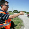 Globe/Roger Nomer<br /> Paul Moore, a consulting engineer with KDOT, explains changes to the intersection of US Highway 69 and 650th Avenue on Friday morning.