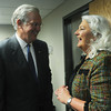 Globe/Roger Nomer<br /> Gov. Jay Nixon talks with Vicky Mieseler, vice president of clinical services for Ozark Center, following Monday's press conference.