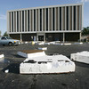 Globe/Roger Nomer<br /> Pieces of insulation from the roof of the Jasper County Courthouse lay in the building's parking lot following Wednesday morning's storm.
