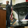 Globe/Roger Nomer<br /> Sawyer Brown talks about his sculpture during a presentation at Joplin City Hall on Thursday.