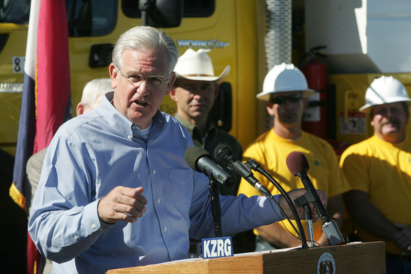 Globe/Roger Nomer<br /> Gov. Jay Nixon talks about extending the drought emergency order during a visit to New Mac Electric on Monday morning.