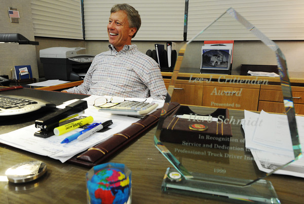 Globe/T. Rob Brown<br /> Herb Schmidt, Con-Way president, smiles as he talks about his career and his announced retirement at the 32nd Street corporate offices in Joplin Thursday afternoon, Sept. 20, 2012.