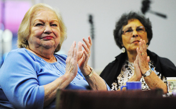 Globe/T. Rob Brown<br /> Pat Johnson, left, and Kay Caudell, both of Joplin, clap in response to statements made by former Michican Gov. Jennifer Granholm during a viewing in Joplin of the broadcast of the Democratic Party National Convention Thursday evening, Sept. 6, 2012.