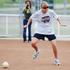 Globe/T. Rob Brown<br /> Kelcey Schlichting, 16, of Carthage, uses her sense of hearing to find a beeping softball as she plays for the Pissburg (Kan.) State University team during an exhibition game of Beeperball during the JAB Beeperball Classic Saturday afternoon, Sept. 29, 2012, at the Joplin Athletic Complex. Schlichting is blind.