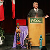 Globe/Roger Nomer<br /> Charles Keyes gives his speech during the Gockel International Symposium at Taylor Performing Arts Center at Missouri Southern on Thursday morning.