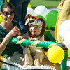 Andrea and two-year-old Asher Cullers represent the Missouri Southern Kinesiology Department during the 2017 MSSU Homecoming Parade on Saturday at MSSU.<br /> Globe | Laurie Sisk