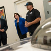 Globe/Roger Nomer<br /> Sen. Roy Blunt looks at a solar car at the Roy Blunt Center for Missouri Alternative and Renewable Energy Technology with Crowder College President Jennifer Methvin and Chris Catron, wind instuctor, on Friday at Crowder College.