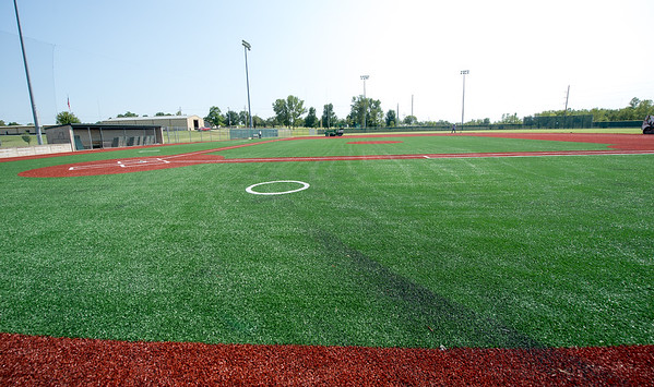 The new infield at Wendell Redden Field sits near completion on Friday at the Joplin Athletic Complex.<br /> Globe | Laurie Sisk