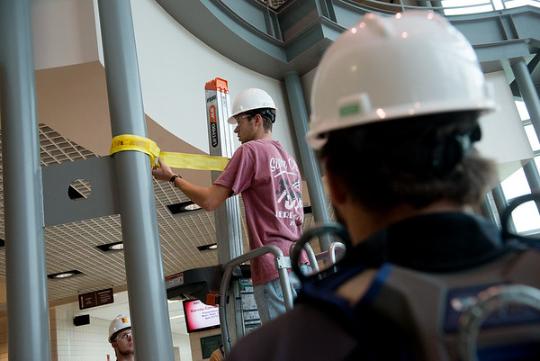 Globe/Roger Nomer<br /> Adam Johnson, a Pittsburg State junior from Overland Park, Kan., participates in construction safety lab about fall protection on Monday at Pittsburg State's Kansas Technology Center.
