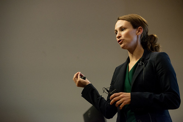 Globe/Roger Nomer<br /> Sheena Greitens gives a talk about North Korea on Thursday at Missouri Southern.