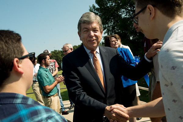 Globe/Roger Nomer<br /> Sen. Roy Blunt greets students and staff at the Roy Blunt Center for Missouri Alternative and Renewable Energy Technology on Friday at Crowder College.