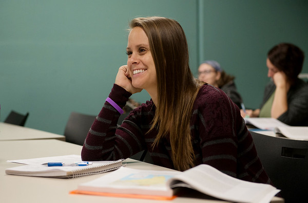 Globe/Roger Nomer<br /> Danita Tamilio participates in a discussion during her world religions class at Crowder College Webb City campus on Wednesday.
