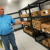 Globe/Roger Nomer<br /> Chris Roper, agriculture director for the Quapaw tribe, gives a tour of the freezer area of the new processing facility on Wednesday.