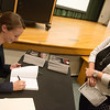 Globe/Roger Nomer<br /> Sheena Greitens signs a book for Elaine Freeman, Joplin, following her talk on North Korea on Thursday at Missouri Southern.