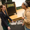 Globe/Roger Nomer<br /> Sheena Greitens talks with Brianna Allen, a Missouri Southern senior from Oswego, following her talk on North Korea on Thursday.