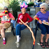 Frpm the left: Marjorie Yokley, 67, Honorary Queen Lois Idleman, 98 and Ann Meyers, 89, watch the sights and sounds with their balloon accessories during the fair on Saturday at Spring River Christian Village's Country Fair.<br /> Globe | Laurie Sisk
