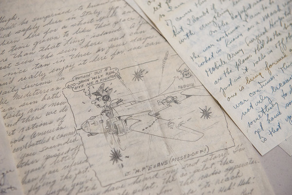 Globe/Roger Nomer<br /> The Center for American War Letters' collection includes letters and drawings from soldiers to people back home.