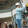 Globe/Roger Nomer<br /> Morgan Shumaker, a Pittsburg State junior from Golden, Mo., participates in construction safety lab about fall protection on Monday at Pittsburg State's Kansas Technology Center.