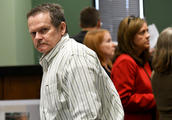 Todd Greathouserises from his seat at the defense table for afternoon recess on Tuesday at the Jasper County Circuit Court. Greathouse is on trial for the first-degree murder of 61-year-old Willanna Dunn.<br /> Globe | Laurie Sisk