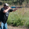 Globe/Roger Nomer<br /> Brian Flaharty, McCune, shoots at a clay target on Friday at Claythorne Lodge.