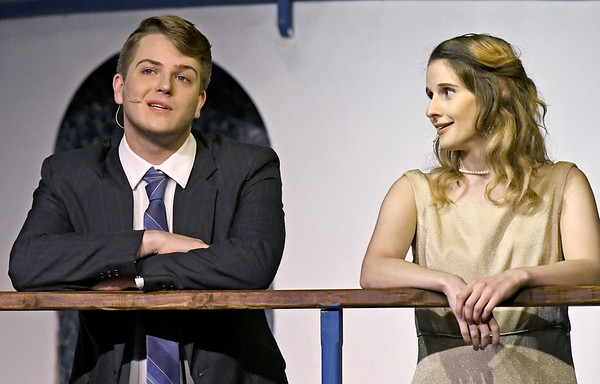 """From the left: XX (XX) tries to woo XX (XX) with the classic """"Easy to Love"""" as they rehearse their roles during the Joplin Little Theatre production of the popular musical """"Anything Goes"""" on Tuesday night at JLT.<br /> Globe   Laurie Sisk"""