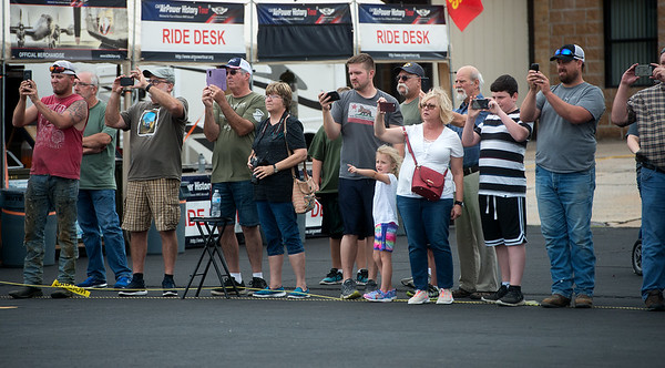 "A crowd takes pictures of the landing of the B-29 Bomber ""Fifi"" on Monday at the Joplin Regional Airport.<br /> Globe 