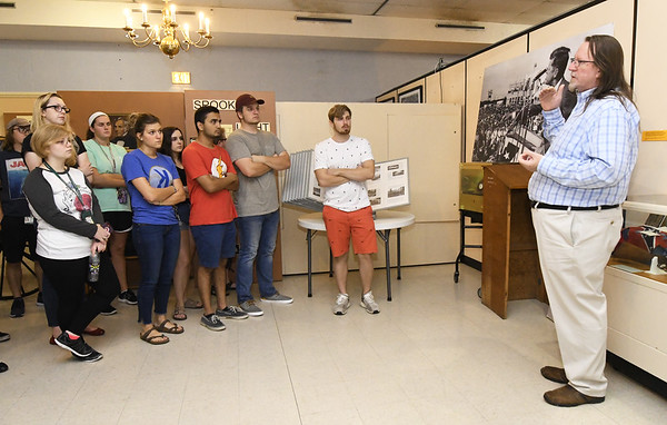 Joplin Museum Complex Executive Director Chris Wiseman leads a class of Missouri Southern students from an Albert Yeboah-Forson geology class on a tour of the museum on Thursday afternoon.<br /> Globe | Laurie Sisk