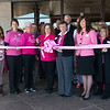 A pink ribbon is cut to mark the beginning of the Pink Ribbon Bagel campaign on Thursday at Panera Bread. For Breast Cancer Awareness month in October, Panera will donate 25 cents for every Pink Ribbon Bagel sold to Hope 4 You Breast Cancer Foundation. On Oct. 12, Panera will donate 100% of the Pink Ribbon Bagel proceeds for that day to the foundation.<br /> Globe | Roger Nomer