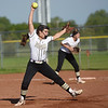 Neosho's Kyla Daspit delivers a pitch against Carthage during Saturday's Paige Neal/Christina Freeman Softball Tournament at the Joplin Athletic Complex.<br /> Globe | Roger Nomer