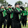 Members of the Lion Pride Marching Band entertain the fans before the start of Missouri Southern's home opener against Lindenwood on Saturday at Fred G. Hughes Stadium.<br /> Globe | Laurie Sisk