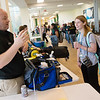 Edward Lee, program coordinator of Emergency Medical Services Department at Missouri Southern, talks with Lyndsey Dixon, a freshman from Galena, during the Major and Minor Fair at Billingsly Student Center on Wednesday.<br /> Globe | Roger Nomer