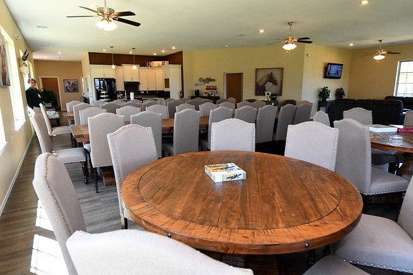 Ample seating for events fills one of two community buildings at Redwood Estates on Wednesday.<br /> Globe | Laurie Sisk