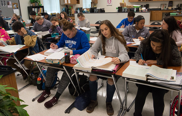 Carthage High School students take a dual-credit anatomy class on Thursday.<br /> Globe | Roger Nomer