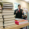 Julie Yockey, Carthage Public Library director, gives a tour to Missouri Secretary of State Jay Ashcroft of the library on Tuesday.<br /> Globe | Roger Nomer