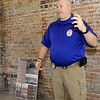 Oronogo Police Chief Chris Carriger talks about the future of his community inside an old train depot last week in Oronogo.<br /> Globe | Laurie Sisk