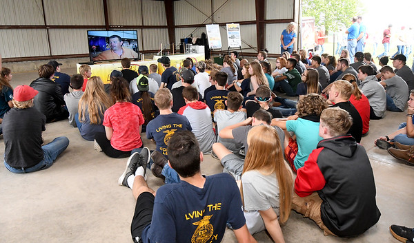 Joplin FFA students join other students from around the state for a presentation on electrical safety presented by Ozark Electric on Thursday at the University of Missouri Southwest Research Center near Mount Vernon. <br /> Globe | Laurie SIsk