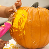 Casper the Friendly Ghost is carved on a pumpkin at the Joplin Public Library on Wednesday.<br /> Globe | Roger Nomer