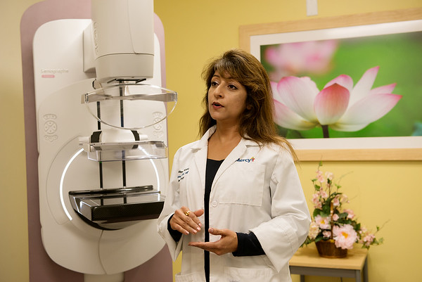 Sonu Suri, director of the Mercy Breast Center, talks about mammography myths during an interview on Sept. 25.<br /> Globe | Roger Nomer