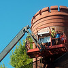 Work continues on the exterior of the Schifferdecker house on Wednesday morning.<br /> Globe | Roger Nomer