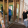 Betsy Flanigan, vice president of the Carthage Historic Preservation Society, left, and Judy Goff, board member, talk about the history of the Sweet House on Thursday.<br /> Globe | Roger Nomer