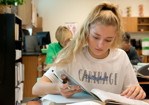 Lexi Black, senior, takes a dual-credit anatomy class at Carthage High School on Thursday.<br /> Globe | Roger Nomer
