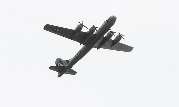 """The B-29 Bomber """"Fifi"""" circles the Joplin Regional Airport on Monday as it prepares to land.<br /> Globe 