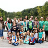 Daisy, Brownie and Girls Scouts gather for a group photo on the dock of Lake Mintahama Wednesday.<br /> Globe | Laurie Sisk