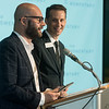 Lieven Bertels, director of the Momentary, left, and Rod Bigelow, Crystal Bridges executive director, talk about the vision of the Momentary during a press conference on Thursday at the Holler in Bentonville.<br /> Globe | Roger Nomer