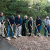 Ground is broken for the pool renovation at the Roaring River fish hatchery on Friday.<br /> Globe | Roger Nomer
