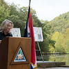 Sara Parker Pauley, director of the Missouri Department of Conservation, talks before Friday's groundbreaking at the Roaring River fish hatchery.<br /> Globe | Roger Nomer