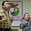 With the assistance of 10-year-old Victor Padilla, of Bentonville, Ark., Fred Blanco portrays civil rights activist Cesar Chavez during the Hispanic Heritage Celebration on Saturday at George Washington Carver National Park. The event honored contributions Hispanic Americans have made to society.<br /> Globe | Laurie Sisk